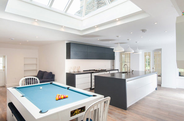 Modern Kitchen with Pool Table