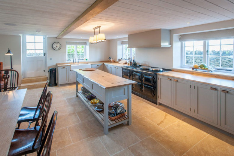 Traditional Grey Kitchen with Cotswold Stone Floor
